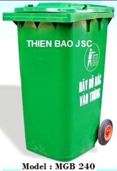 Thùng rác nhựa HDPE (240L), nắp kín